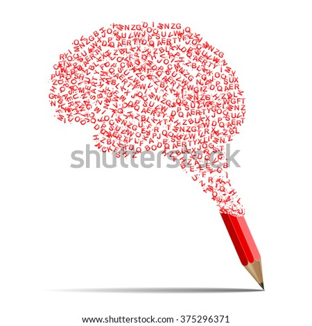 Concept of education. Cloud of letters in form of human brain flying from red pencil. Learning process - stock vector