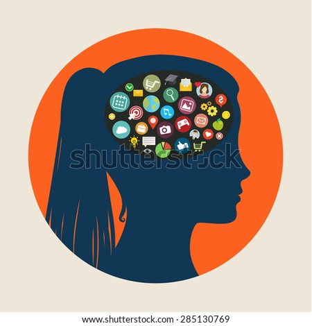 Concept of education. Icons in form of head. Flat design, vector illustration