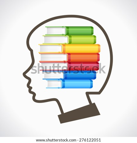 Concept of Education. Silhouette of the child's head with books - stock vector
