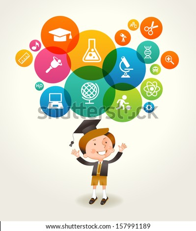Concept of education. The generation of knowledge. Child and Icons of Science. File is saved in EPS 10 version. This illustration contains a transparency  - stock vector
