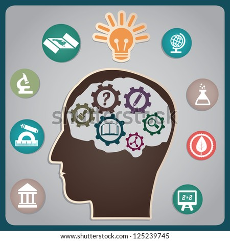 Concept of education with process - vector illustration - stock vector