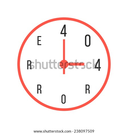 concept of error 404 with red watches. isolated on white background. flat style trendy modern logo design vector illustration - stock vector