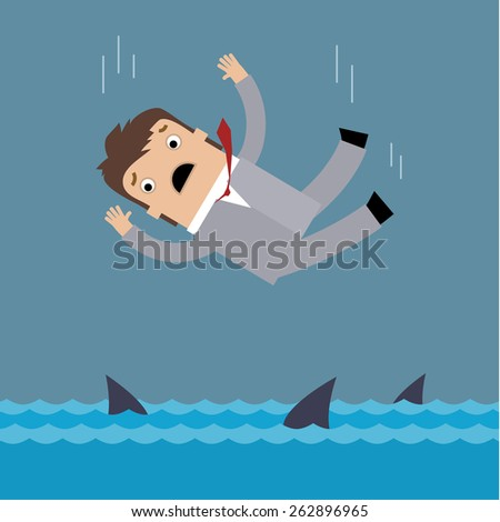 Concept of failure of a businessman due to crisis. Businessman falls into the sea with sharks. - stock vector
