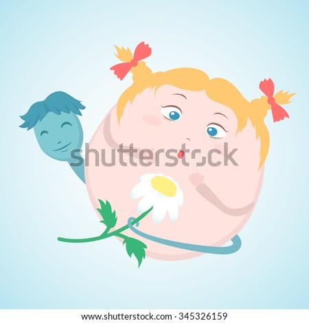 concept of fertilization, the egg cartoon receives a gift from the boy sperm - stock vector