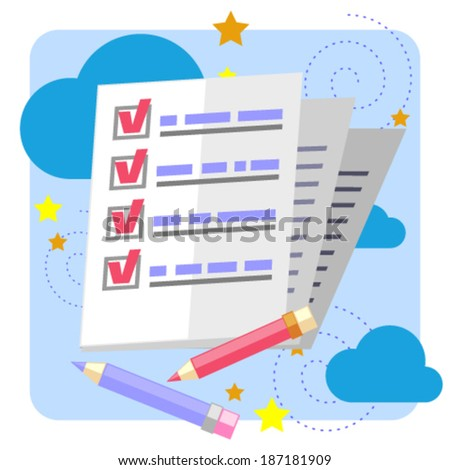 Concept of finished work - stock vector