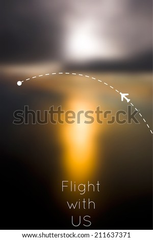 Concept of fly with us advertising. Plane in realistic vector blured sunset sky with route and destination point. - stock vector