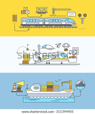 Concept of Freight Forwarding rail by sea and air. Transport delivery, shipping import industry, distribution and logistic, export railway transportation. Set of thin, lines, outline flat icons - stock vector