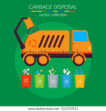 Concept of garbage disposal, cleaning, sorting, processing and recycling of garbage. Flat style design. Vector illustration. - stock vector
