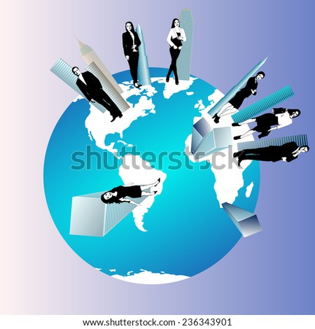 Concept of global business team with businesspeople over the world - stock vector