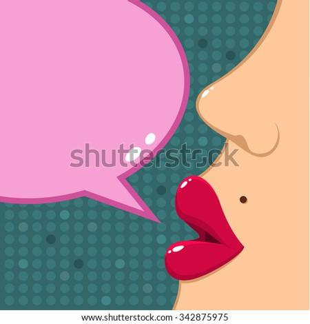 Concept of gossip or love. Female lips speak. Flat design, vector illustration. - stock vector