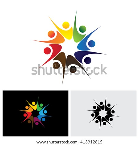 concept of happy employees or friends sharing joy & happiness vector logo icon. This also represents excited people, people dancing, school children or kids playing, colorful employees in circle - stock vector