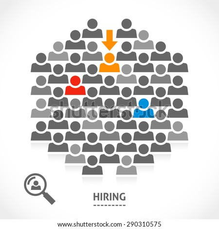 Concept of hiring new vacancy. It's very hard to find a chosen one good worker. - stock vector