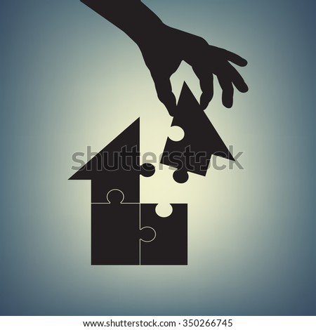 Concept of home. Human hand assembling house made of puzzles - stock vector