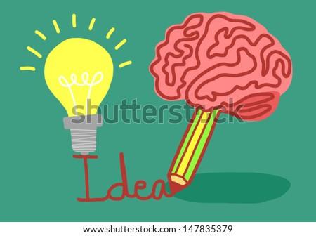 concept of idea bulb.make idea. Vector illustration. - stock vector