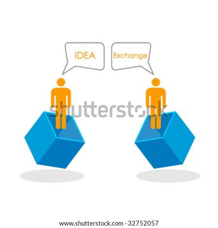 concept of idea exchange - stock vector