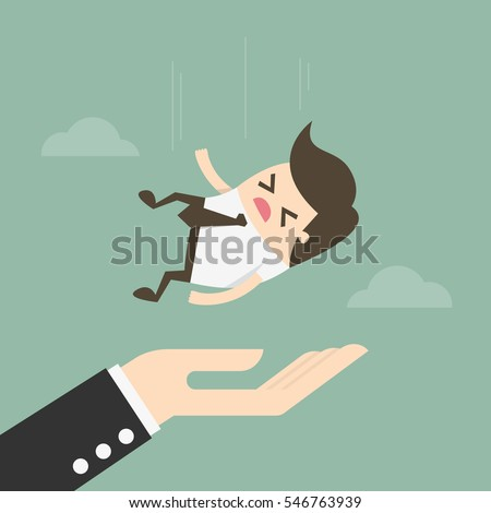 Concept Of Insurance. Businessman Falling On Big Hand. Business Concept Illustration.