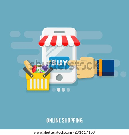 Concept of Internet shopping, E-commerce. Mobile phone. Flat design concept. Vector illustration. - stock vector