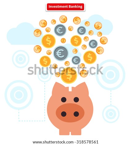 Concept of investment banking. Money, finance, bank and growth earnings, piggy bank and cash, coin, financial profit, wealth and dollar, income and fund illustration - stock vector