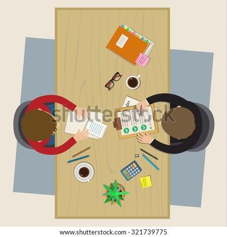 Concept of job interview. Business meeting. Flat design, vector illustration - stock vector