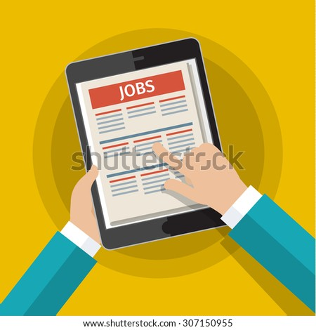 Concept of job searching. Hand holding tablet with vacancies. Flat design, vector illustration. - stock vector