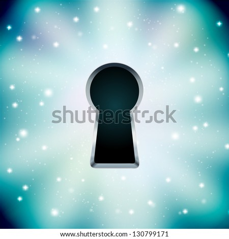 Concept of key hole on starry background