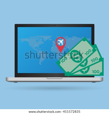 Concept of Laptop Computer for Travel around the world, Vector Illustration EPS 10. - stock vector