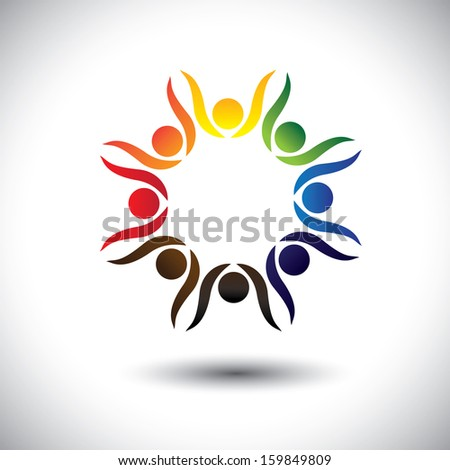 concept of lively party people or friends celebrating friendship. This unusual vector also represents excited people, people dancing, school children or kids playing, colorful employees in circle - stock vector