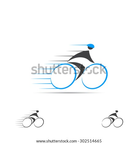 Concept of logo of fast ciclist. Vector icons of professional ciclist. - stock vector