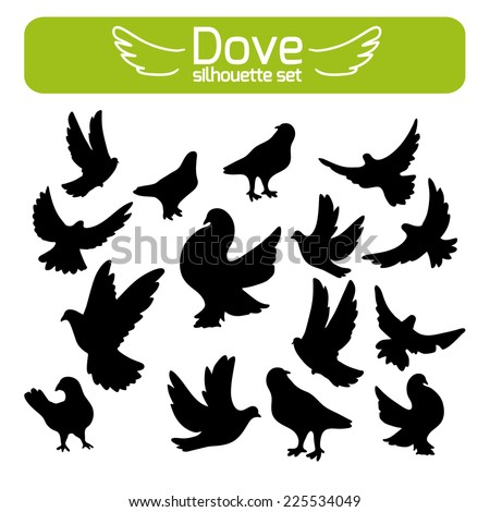 Concept of love or peace, Set of birds silhouettes flying, sitting. - stock vector