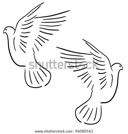 Concept of love or peace. Set of white vector doves. Rasterized version also available in portfolio.