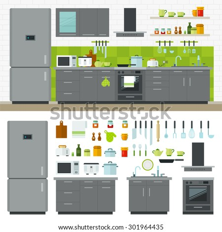 Concept of modern kitchen. Flat horizontal banners with kitchen utensils, electric cooker, refrigerator, kitchen furniture, washing, interior. Cartoon style for web, analytics, graphic design - stock vector