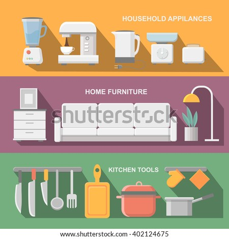 Concept of modern kitchen. Flat horizontal banners with kitchen utensils, electric cooker, refrigerator, kitchen furniture, washing, interior.  - stock vector