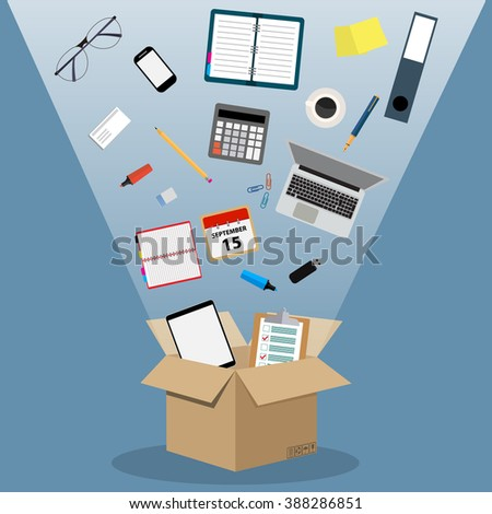 Concept of moving into a new office, cardboard box with documents, laptop, calculator, calendar, tablet PC, coffee cup. vector illustration in flat design on blue background. - stock vector