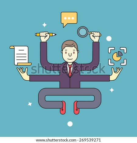 Concept of multitasking businessman who works with more arms. Management and multitasking - vector illustration - stock vector
