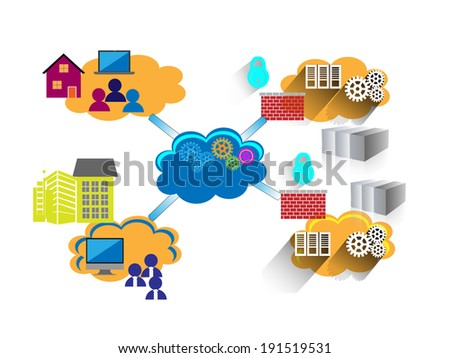 Concept of Network, illustrates employees connecting enterprise and legacy systems in multiple data center through VPN and MPLS with firewall security from home and workplace - stock vector