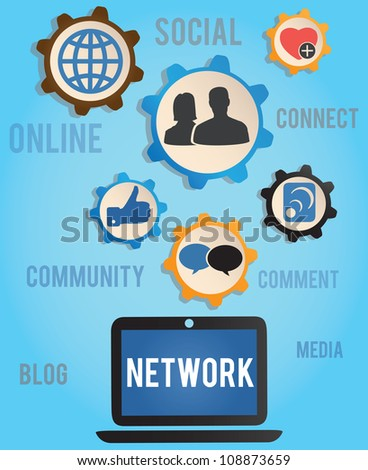 concept of network - vector illustration - stock vector