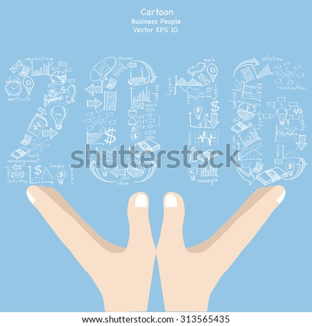 Concept of  New Year 2016 Text Design with Creative Doodle business, technology and strategy planning icon Idea on cartoon hand holding, Vector Illustration EPS 10. - stock vector