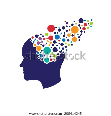 Concept of neworking brain. Vector icon