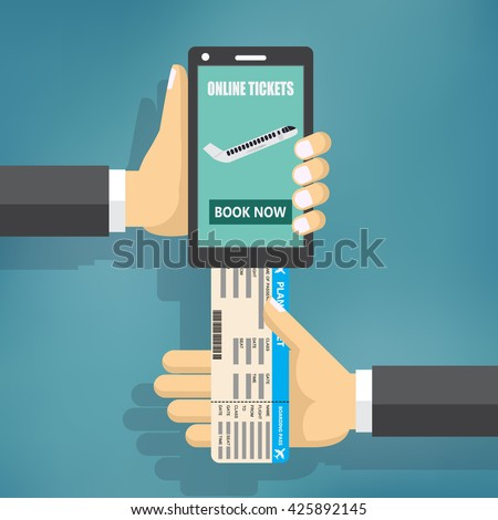 Concept of online booking for airplane tickets. Human hand with mobile phone and airplane ticket.