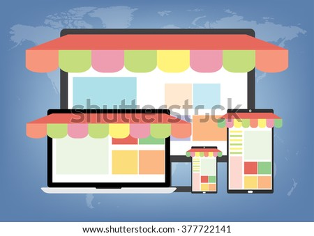 Concept of online shopping with multiple gadget any device mobile phone, tablet, laptop, PC connected to internet online to selling and buying. E-Commerce online shopping concept.  - stock vector