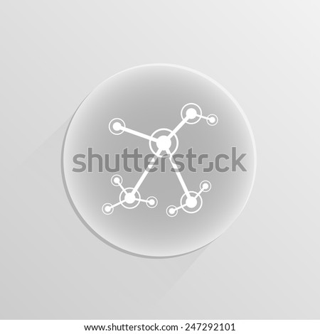 concept of operation of computer network work the nerve cells of the human on a white button with shadow - stock vector