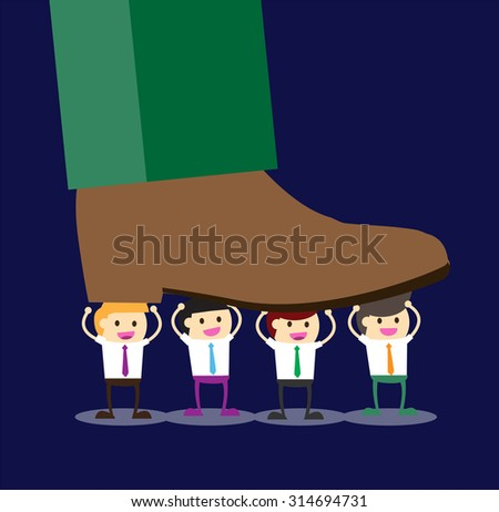 Concept of oppressed by the boss with businessman under a big shoe, Flat design. vector. business concept. giant foot. job. little man. team teamwork powerful harmonious - stock vector