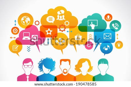 concept of people communicate in a global network. Icons of people with speech bubbles, clouds and Interface icons - stock vector