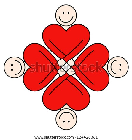 Concept of people friendship, love and togetherness. - stock vector
