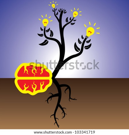 Concept of plant of brain generating ideas and solutions - stock vector
