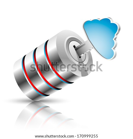 Concept of private information base as a cloud. Vector illustration. - stock vector