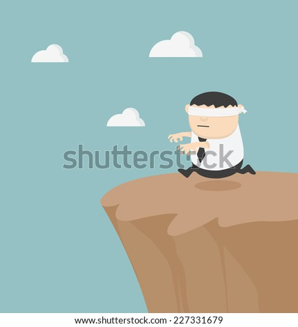 Concept of problem in blindfolded businessman fat - stock vector