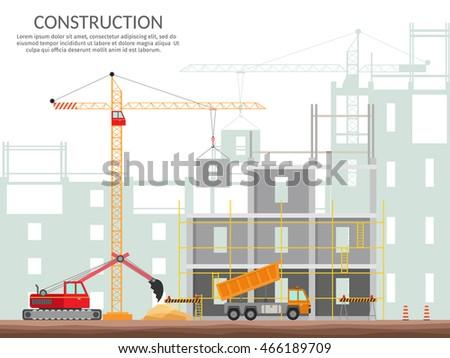 Set elements construction concept process construction for Process of building a house