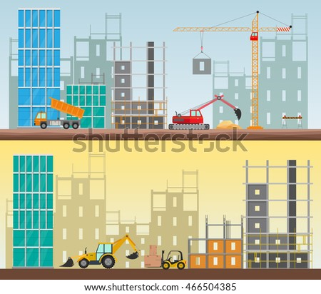 Orthogonal concept construction work site set stock vector for Process for building a house
