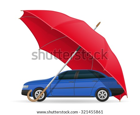 concept of protected car umbrella vector illustration isolated on white background - stock vector